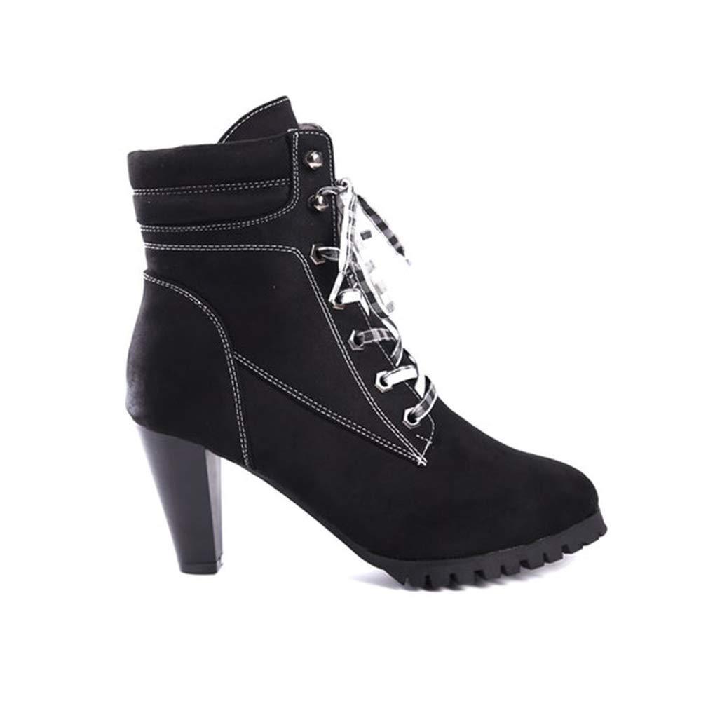 YAN Damen Stiefeletten Mode Stiletto Stiefeletten Damen Schnüren Spitz Biker Kalb Schuh Party & Abendkleid Schuhe Neuheit Schuhe