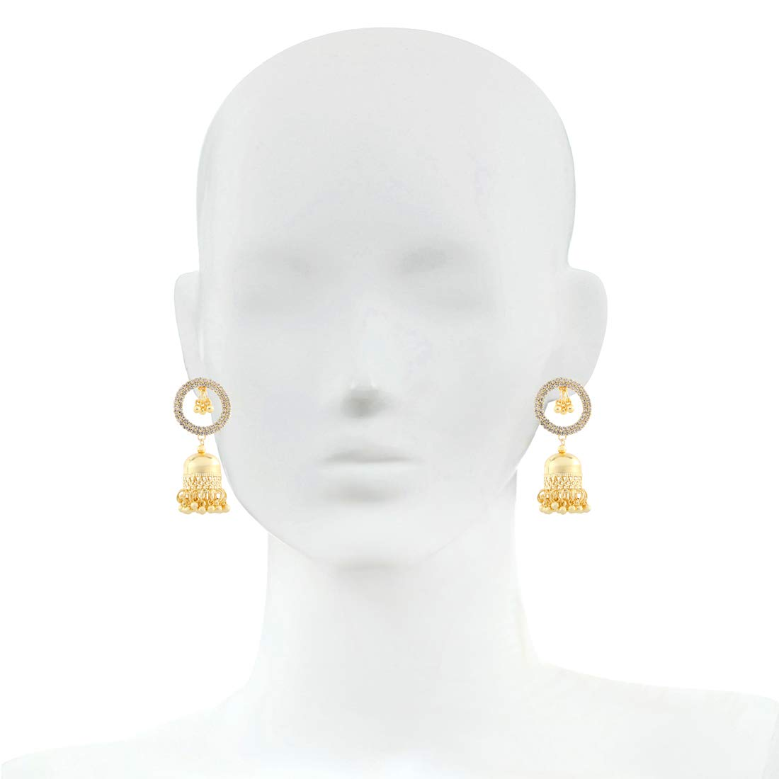 Bodha Elegant Gold Plated Crystal CZ American Diamond Hoop Jhumka Designer Earrings for Women SJ/_1404 Girls