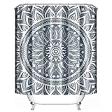 Best Uphome Home Curtain Panels - Uphome Fabric Shower Curtain Waterproof Medallion Pattern Custom Review
