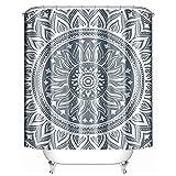 Uphome Fabric Shower Curtain Waterproof Medallion Pattern Custom Mandala Bathroom Curtain Sets, Mildew