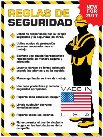 """Workplace Safety Rules Poster (18"""" x 24"""" Spanish Text)"""