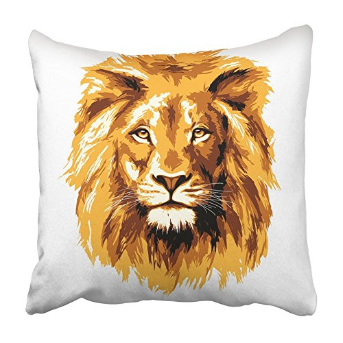 Emvency Throw Pillow Covers Cases Decorative 18x18 Inch Brown Head Big Fiery Lion Orange Gold Brave Strong Eye Africa Animal Beast Two Sides Print Pillowcase Case Cushion Cover
