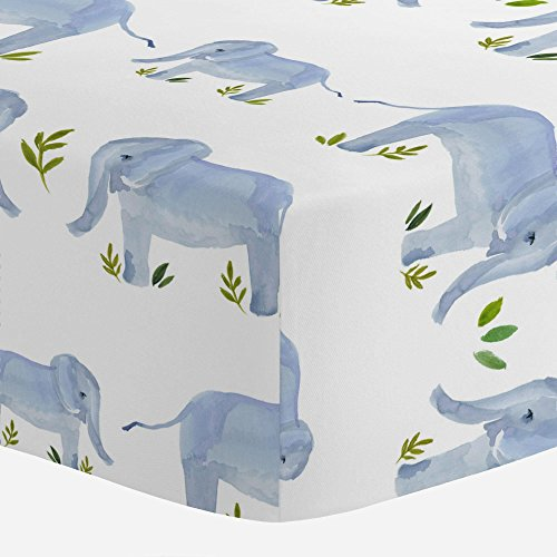 Carousel Designs Painted Elephants Crib Sheet - Organic 100% Cotton Fitted Crib Sheet - Made in The USA