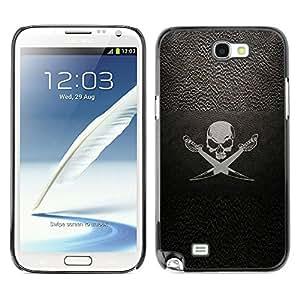 GOODTHINGS Funda Imagen Diseño Carcasa Tapa Trasera Negro Cover Skin Case para Samsung Note 2 N7100 - símbolo pirata espadas cráneo muestra nave de vela