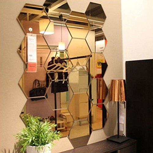 Kicode 12Pcs Acrylic 3D Hex Mirror Wall Stickers Decals DIY Mural Art Craft Home Living Room Bedroom Decor Gifts Decoration