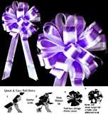 DARK PURPLE WHITE 8'' WEDDING PULL PEW BOW BRIDAL SHOWER