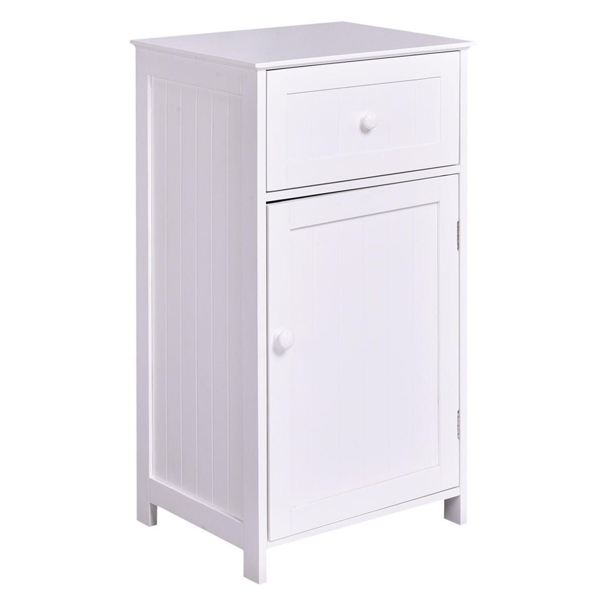 TANGKULA Bathroom Floor Storage Cabinet Home Living Room Bedroom Sturdy Wooden Modern Side Cabinet Organizer Storage Cabinet Furniture with Door & Drawer
