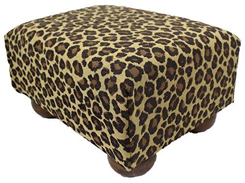Leopard Spots Upholstered Fabric Footstool Ottoman