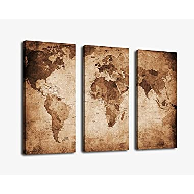 YPY Oil Painting World Map for Home Living Room Bedroom Office Ready to Hang 3 Piece Canvas Wall Art