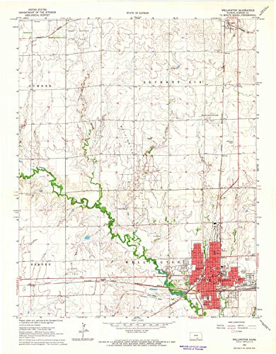 - Wellington KS topo map, 1:24000 Scale, 7.5 X 7.5 Minute, Historical, 1965, Updated 1966, 27.1 x 21.14 in - Paper