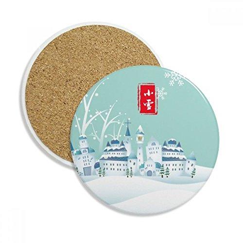 Snow Twenty Four Solar Term Pattern Ceramic Coaster Cup Mug Holder Absorbent Stone for Drinks 2pcs Gift by DIYthinker