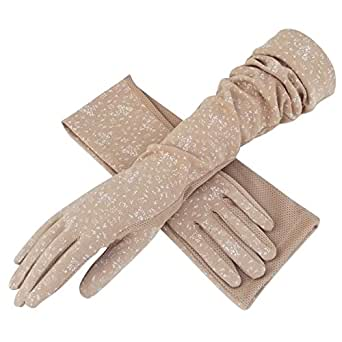 Soft Breathable Cotton Long Gloves Spring Autumn Sun Protection Outdoor Cycling Driving Arm Cover Sleeves Gloves for Women Ladies Khaki