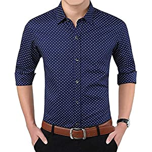 Super weston Cotton Polka Print Dotted Shirts for Men for Formal Use,100% Cotton Shirts,Office Wear Shirts, M=38,L=40,XL…