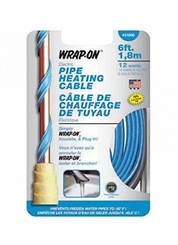 Wrap On 31006 8 Pack 6ft. 12W 120V Pipe Heating Cable, Blue by Wrap On