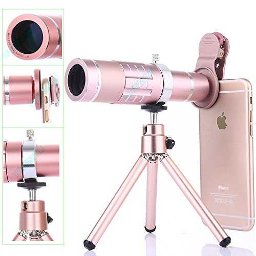 Camera Lens Kit,WMTGUBU 4 in 1 HD Universal Clip-On Phone 18X Optical Zoom Telephoto Lens+15X Super Macro Lens+0.6X Wide Angle Lens Tripod Phone Samsung Tablet PC Laptops (Rosegold)