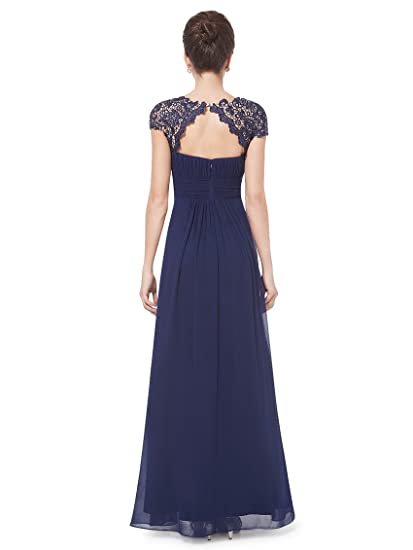 Womens Cap Sleeve Lace Neckline Ruched Bust Evening Gown