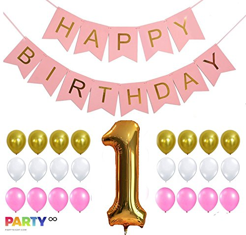 PartyEight First Birthday Party, 1st Birthday Baby Girl Decorations, Gold Number One Balloon, Gold Pink White Balloons Set (32 - Cadabby Mini Abby
