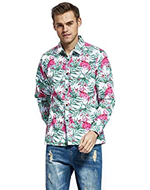 Men's Hawaiian Long Sleeve Shirt Aloha Shirt Flamingo in Love Whtie