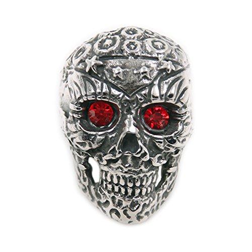 Men's Titanium Steel Silver Fashion Cool Gothic Punk Biker Finger Rings Jewelry 6618-0011-12 (12)