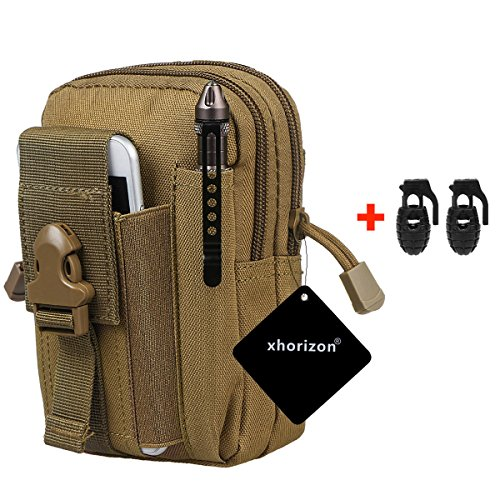 xhorizon FX 1000D Nylon Molle Outdoor Big Capacity Oversize Tactical Smartphone Holster EDC Carry Accessory Tool Waist Bag Pack Pouch Case with Belt Loop & Belt Latch for Accessories & Smart Phones