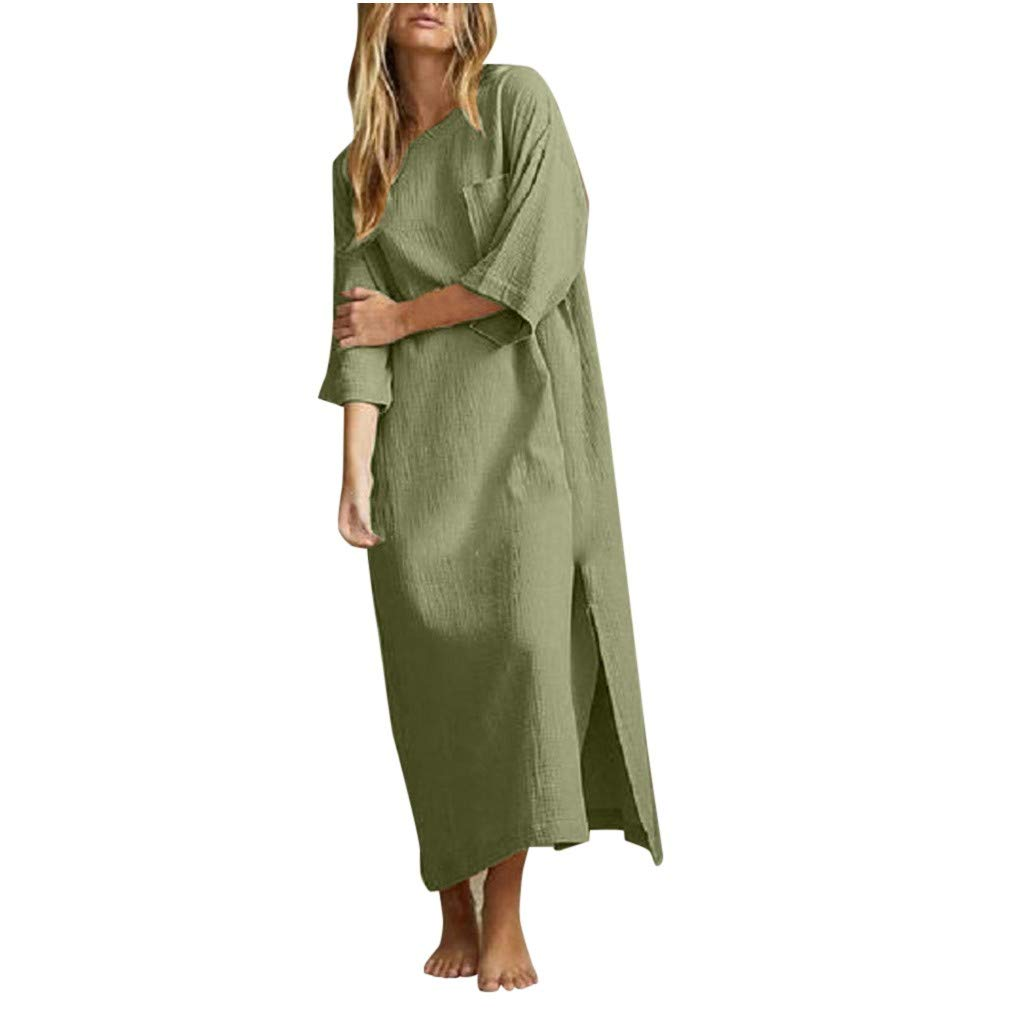 TRENDINAO Linen Dress,Women Split Solid Color Five Sleeve Loose Crew Neck Work Maxi Dresses for Special Occasions Army Green by TRENDINAO