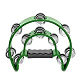Bemaxy Hand Held Double Row Musical Tambourine Rattle Percussion Handles Metal Jingles Drums Shakers Instruments for Church KTV Party Kids' Toy (Green)