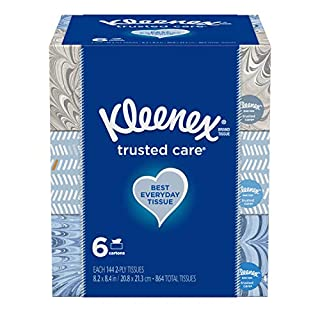 Kleenex Trusted Care Everyday Facial Tissues, 6 Rectangular Boxes, 144 Tissues per Box (864 Tissues Total)
