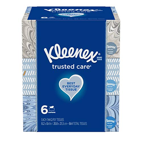 Kleenex Trusted Care Everyday Facial Tissues,144 tissues, 6 count