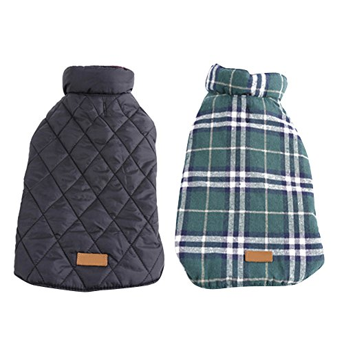 Kuoser Cozy Waterproof Reversible  British style Plaid Dog Vest Winter Coat