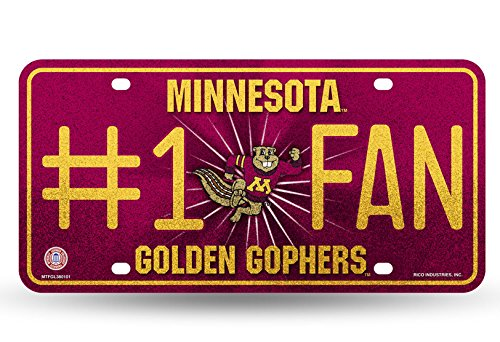 Rico NCAA Minnesota Golden Gophers Bling #1 Fan Metal Auto Tag Plate, 12 x 6-Inch, Silver ()