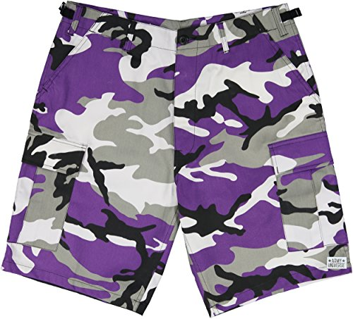 Army Universe Purple Camouflage Military BDU Cargo Shorts Pin Size X-Large (Waist 39-43