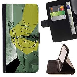 BullDog Case - FOR/Samsung Galaxy A3 / - / Walter Doctor Meth /- Monedero de cuero de la PU Llevar cubierta de la caja con el ID Credit Card Slots Flip funda de cuer