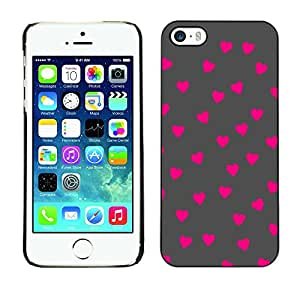 Caucho caso de Shell duro de la cubierta de accesorios de protección BY RAYDREAMMM - Apple iPhone 5 / 5S - Pink Polka Dot Pattern Grey