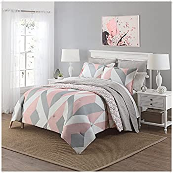 pink and grey comforter Amazon.com: 3 Piece Girls Light Pink Grey White Geometric Polkadot  pink and grey comforter