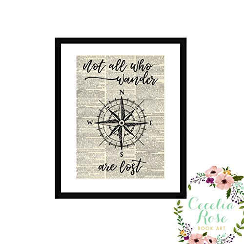 Not All Who Wander Are Lost J. R. R. Tolkien All That Is Gold Does Not Glitter Lord of The Rings Nautical Compass Farmhouse Inspirational Quote Upcycled Vintage Book Page Unframed by Cecelia Rose Book Art
