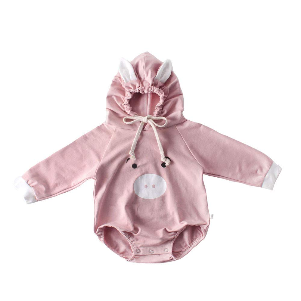 Skatheal Newborn Baby Girl Carton 3D Hooded Long Sleeve Romper Jumper Sweater Jumpsuit Bodysuit Outfit