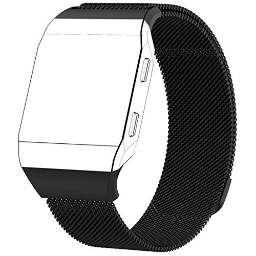Fitbit Ionic Band, HANYI Luxury Magnetic Lock Milanese Loop Stainless Steel Watch Band Replacement Strap for Fitbit Ionic (Large, Black)