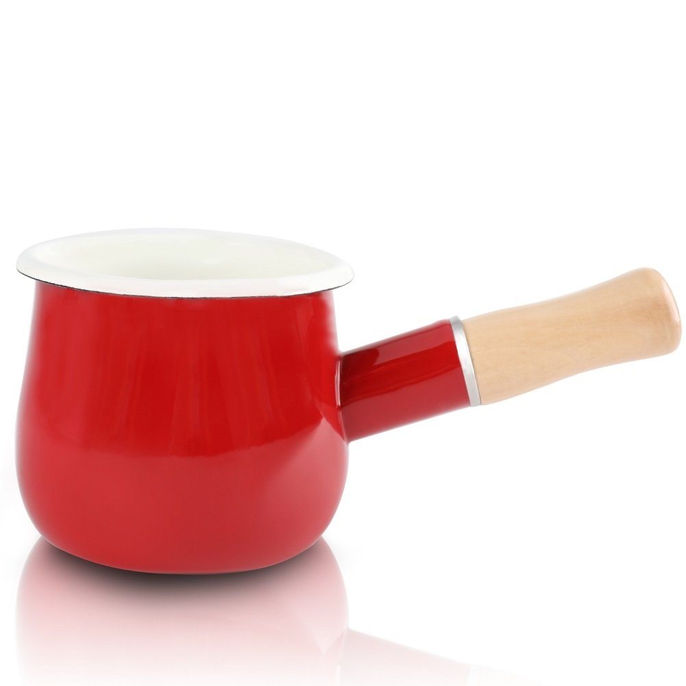 Enamel Milk Pan, Mini Butter Warmer 10cm Enamelware Saucepan Pan Cookware with Wooden Handle, Perfect size for heating smaller liquid portions. (Red)