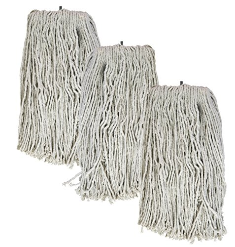 - Tricol 38483 Screw-Tip Wet Mop Replacement Heads, 20-Ounce, White, 3-Pack