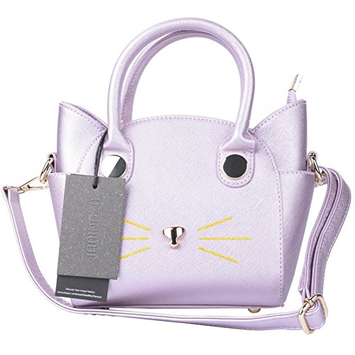 QZUnique Women's Summer Fashion Top Handle Cute Cat Cross Body Shoulder Bag Pink