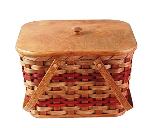 Amish Handmade Small Picnic Basket w/Swinging Handles in RED