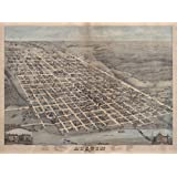 "1873 Old Map of Austin Texas Travis County Panoramic- Map Reprint 18"" X 24"""