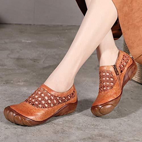 Ocio Cuadrícula Lzw Fíat Respirable Zapatos Cómodo Camel Hueco Mujer Suave Solos De Aqdq0SCw