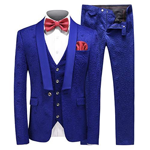MOGU Mens New Casual Slim Fit Skinny Dress Suits 3 Piece US Size 34 (Label Asian Size L) Blue ()