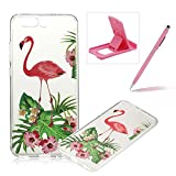 Clear Case for Huawei P10,TPU Case for Huawei P10,Herzzer Fashion [Pink Crane Pattern] Soft Silicone Gel Bumper Cover Flexible Transparent Skin Case for Huawei P10 + 1 x Free Pink Cellphone Kickstand + 1 x Free Pink Stylus Pen