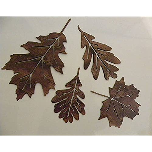 Leaf Accents Set of 4 Metal Wall Art Decor  sc 1 st  Amazon.com : wall art leaves - www.pureclipart.com