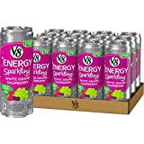 V8 +Energy Sparkling Healthy Energy Drink, Natural Energy from Tea, White Grape Raspberry, 12 Fl Oz (Pack of 12)