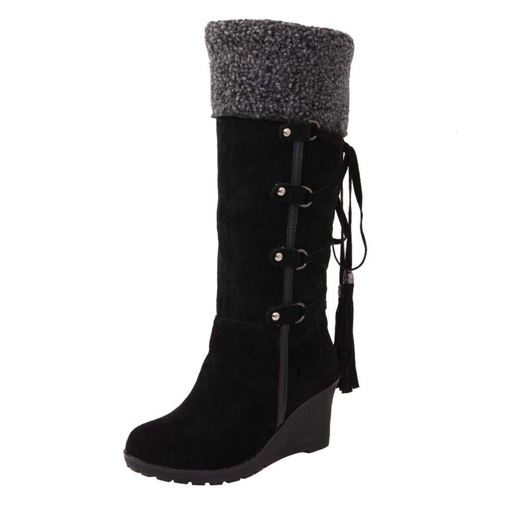 Logobeing Botines Mujer Planos Tacon Zapatos de Mujer Después de Lijar con Borlas Botas Altas Mangas Cuñas Botas de Nieve Zapatos de Plataforma(35, Amarillo)