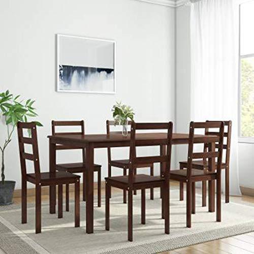 Woodness Camela 6 Seater Solid Wood Basic Dining Table Set  Wenge