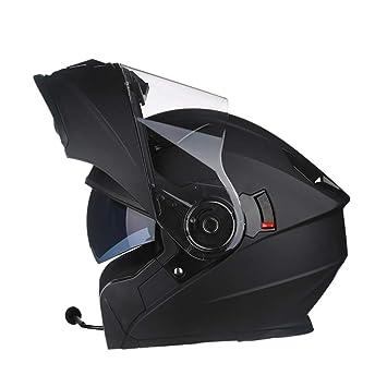 Casco de Motocicleta de Rostro Completo para Hombres con Bluetooth, Casco antifogging de Doble Lente
